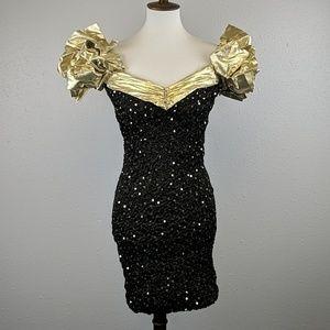 Vintage 1980's Notorious Black & Gold Dress Size 3